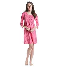 HUE® Knit Henley Sleepshirt - Fandango Pink Juliet Dot