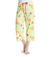 HUE® Knit Capri - Lime Blooming Petals