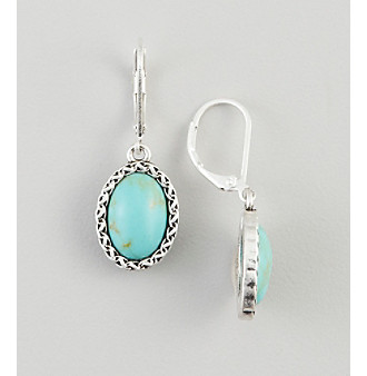 Nine West Vintage America Collection® Silvertone & Turquoise Drop Earrings plus size,  plus size fashion plus size appare
