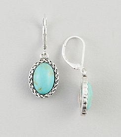 Nine West Vintage America Collection® Silvertone & Turquoise Drop Earrings