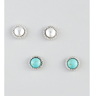 Nine West Vintage America Collection® Silvertone & Turquoise Stud Earrings Duo Set