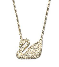 Swarovski® Gold Plated Clear Crystal Swan Necklace