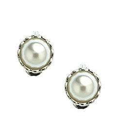 Napier® White Faux Pearl Comfort Clip Button Earrings