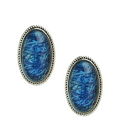 Napier® Comfort Clip Blue Cabachon Oval Earrings