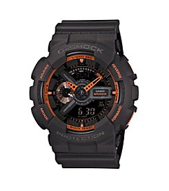 G-Shock Men's XL Analog-Digital Dark Gray Matte Resin Watch with Orange Accents