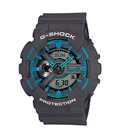 G-Shock Men's XL Analog-Digital Dark Gray Matte Resin Watch with Blue Accents