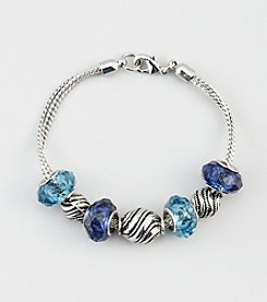 Napier® Boxed Silvertone Metal Snake Chain Slider Bracelet with Blue Crystal Stones