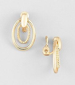 Napier® Goldtone Metal EZ Comfort Clip Medium Doorknocker Earrings