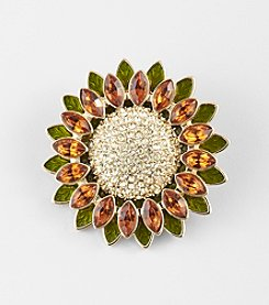 Napier® Boxed Goldtone Metal Sunflower Pin with Smoky Topaz and Green Stones