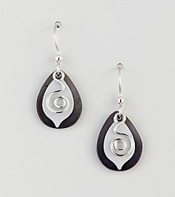 Silver Forest® Grey Coil on Silvertone Layered Shapes Earrings