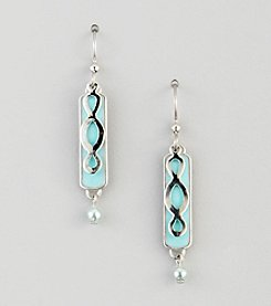 Silver Forest® Silvertone Three Loop & Blue Rectangle Earrings