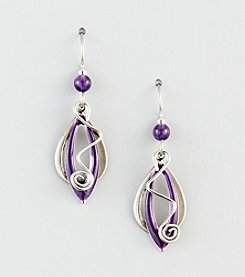 Silver Forest® Silvertone Layered Purple Tear, Marquee & Coil Earrings