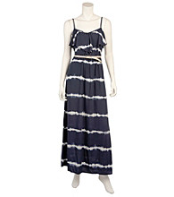 A. Byer Navy Tie Dye Belted Ruffle Top Maxi Dress