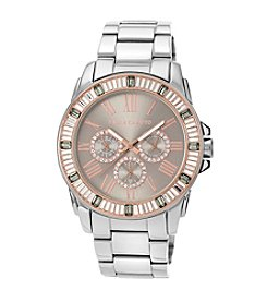 Vince Camuto™ Women's Grey/Stainless Steel Bracelet with Baguette Crystal Bezel
