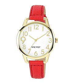Nine West® Women's Goldtone Red Strap Watch