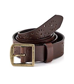 Fashion Focus Perforated Belt with Center Bar - Tan/Gold