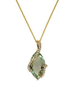 Effy® Green Amethyst & 0.14 ct. t.w. Diamond Pendant Necklace in 14K Yellow Gold
