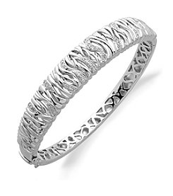 0.10 ct. t.w. Diamond Bangle Bracelet in Sterling Silver