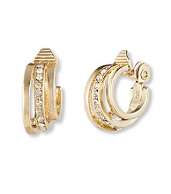 Napier® Goldtone EZ Comfort Clip C Hoop Earrings