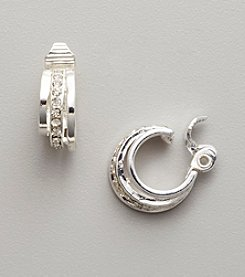Napier® Silvertone EZ Comfort Clip C Hoop Earrings