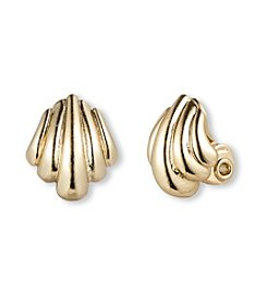 Napier® Goldtone EZ Comfort Clip Shell Button Earrings