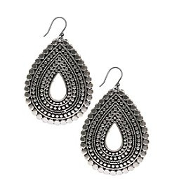 Lucky Brand® Silvertone Tribal Teardrop Earrings