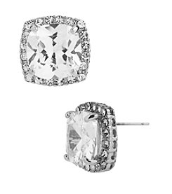 Betsey Johnson® Crystal Cubic Zirconia Silvertone Square Stud Earrings