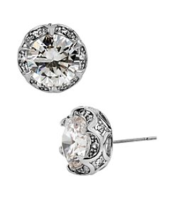 Betsey Johnson® Crystal Cubic Zirconia Silvertone Ruffled Round Stud Earrings