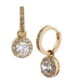 Betsey Johnson® Crystal Cubic Zirconia Goldtone Round Drop Earrings