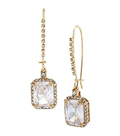 Betsey Johnson® Crystal Cubic Zirconia Goldtone Square Long Drop Earrings