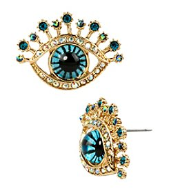Betsey Johnson® Blue/Goldtone Eye Stud Earrings