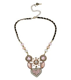 Betsey Johnson® Pink Multicolor Crystal Gem Cluster Frontal Necklace