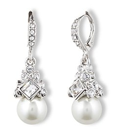Givenchy® Silvertone & Pearl Drop Earrings