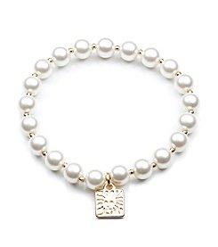 Anne Klein® Goldtone Pearl Stretch Bracelet