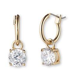 Anne Klein® Goldtone Stone Drop Hoop Earrings