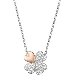 Swarovski® Goldtone/Silvertone/Rose Gold Plated & Clear Crystals Better Clover Necklace