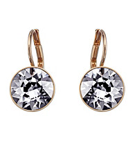 Swarovski® Goldtone/Rose Gold Plated Silver Night Crystals Bella Pierced Earrings