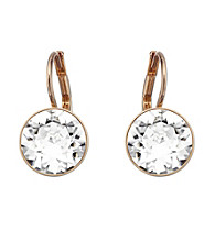 Swarovski® Goldtone/Rose Gold Plated & Clear Crystals Bella Pierced Earrings
