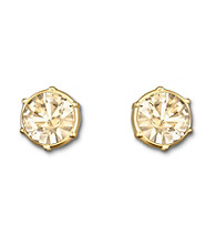Swarovski® Goldtone/Gold Plated Golden Shadow Crystal Typical Pierced Earrings