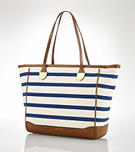 Lauren Ralph Lauren® Blue Stripe Lauren Canvas Tote