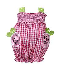 Bonnie Jean® Baby Girls' Fuchsia Checkered Strawberry Bubble Romper