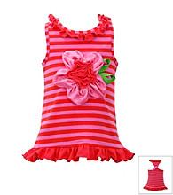 Bonnie Jean® Baby Girls' Fuchsia/Red Striped 3D Flower Romper