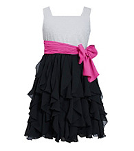 Bonnie Jean® Girls' 7-16 Black/White Ruffle Dress with Bow