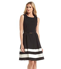 Calvin Klein Belted Stripe Fit And Flare Dress