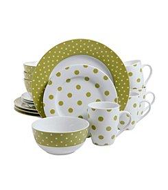 Isaac Mizrahi® Dot Luxe Chartreuse 16-pc. Dinnerware Set