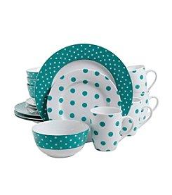 Isaac Mizrahi® Dot Luxe Teal 16-pc. Dinnerware Set