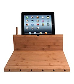 CTA Digital Knife Storage Bamboo Cutting Board with Stand for iPad®