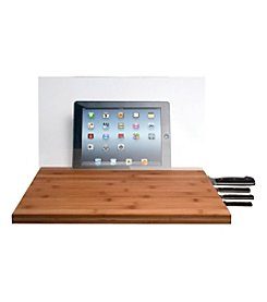CTA Digital Knife Storage Bamboo Cutting Board with iPad® or Tablet Screen Shield