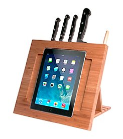 CTA Digital iPad® Bamboo Adjustable Kitchen Stand with Knife Storage