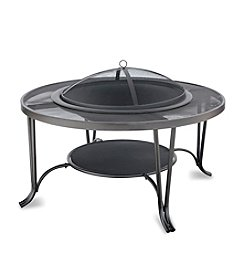 UniFlame® Black Wood Outdoor Firebowl with Mesh Hearth